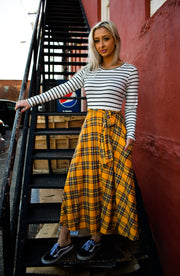 Gwen Mustard Plaid Dress - [product_style] - Long Dress - WILLOWTREE MARKET