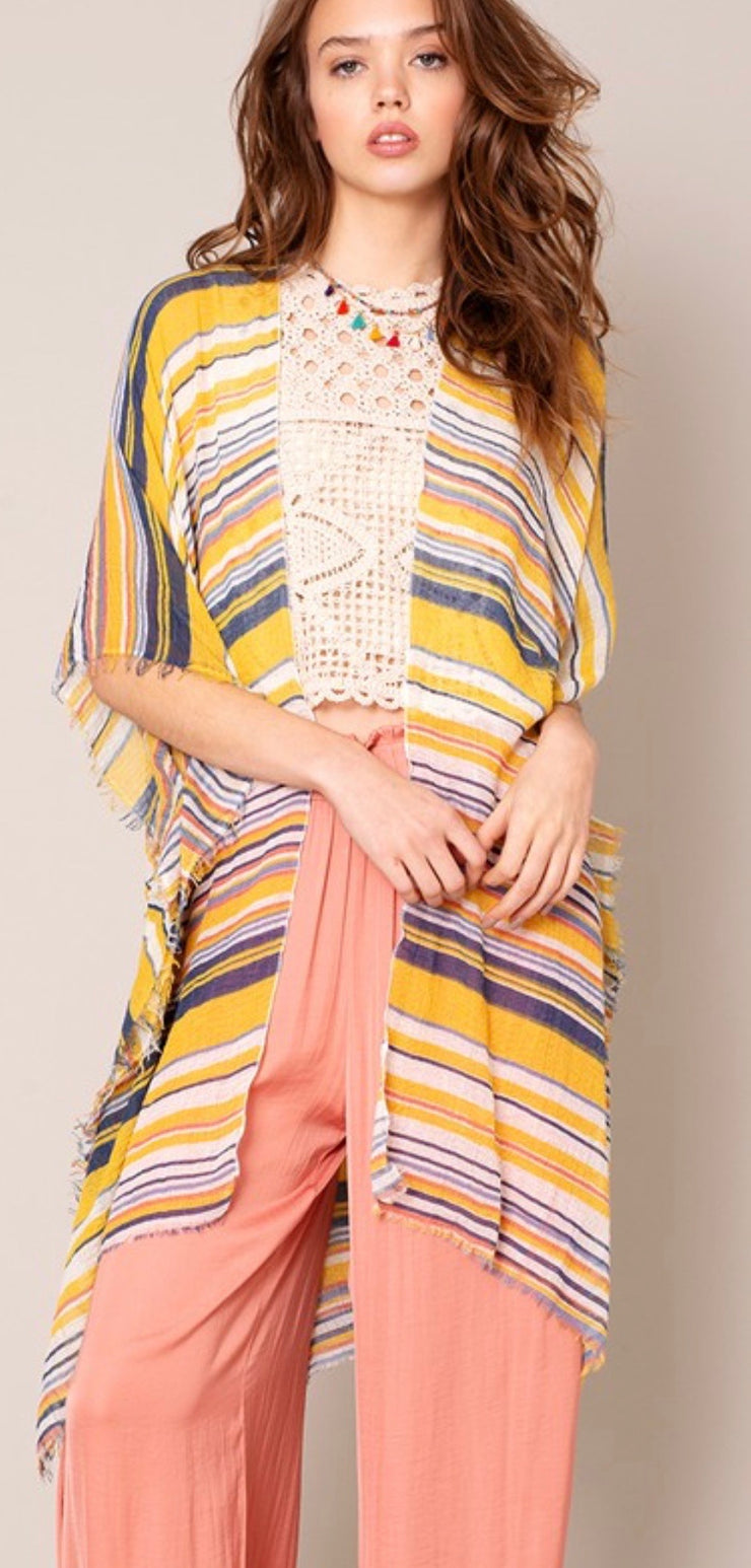 Striped Kimono (Mustard & Navy) - [product_style] - Default - WILLOWTREE MARKET