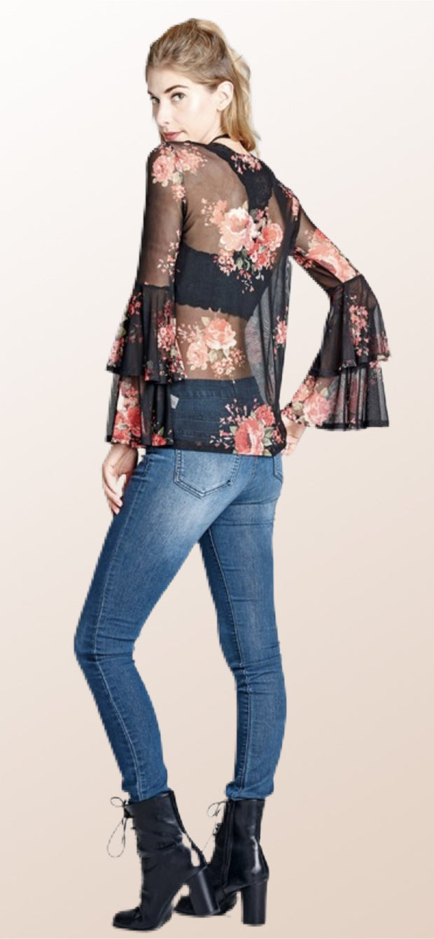 Serena Sheer Floral Top - [product_style] - Tops - WILLOWTREE MARKET