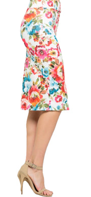 Spring Flowers Pencil Skirt - [product_style] - Clothing - WILLOWTREE MARKET