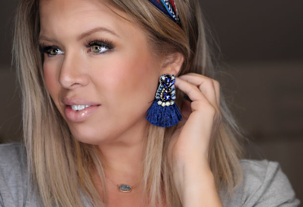 Blue Bird Fringe Earring - [product_style] - Jewelry - WILLOWTREE MARKET