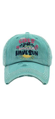 Girl's Just Wanna Have Sun Ball Cap - [product_style] - Default - WILLOWTREE MARKET
