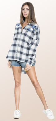 Long Sleeve Blue Plaid With Embroidery - [product_style] - Tops, Clothing - WILLOWTREE MARKET