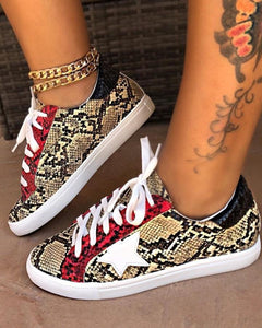 Last Day Promotion 50% OFF 🔥 Snakeskin Star Design Lace-Up Sneakers