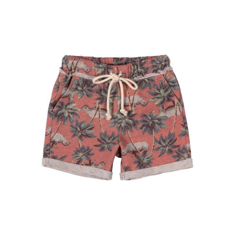 Paper Wings - Cuff Trackie Shorts - Red Jungle Rhino