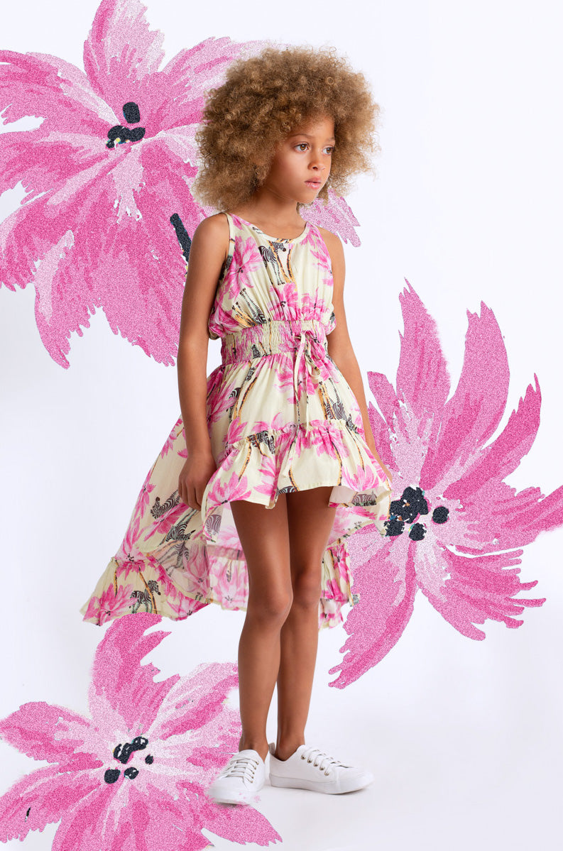 Paper Wings - Shirred Hilo Dress - Tropical Zebra