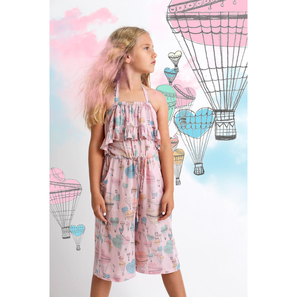 Paper Wings - Frilled Halter Romper - Heart Balloons