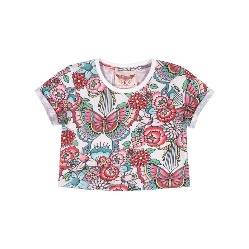 Paper Wings - Cropped T-Shirt - Tattoo Flowers