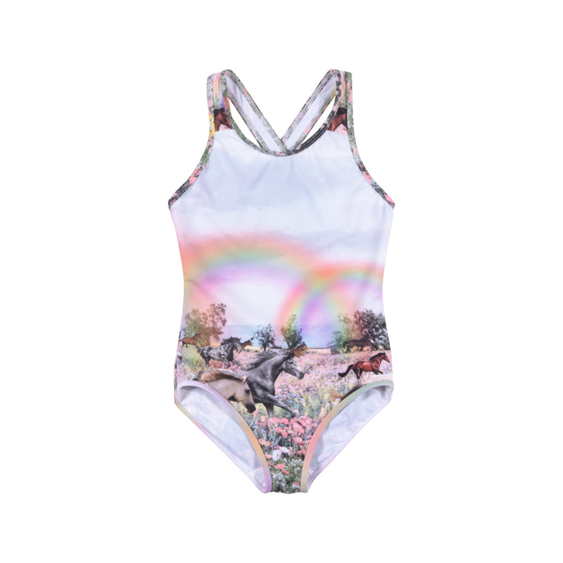 Paper Wings - One piece with Cross Over Straps - Rainbow Horses