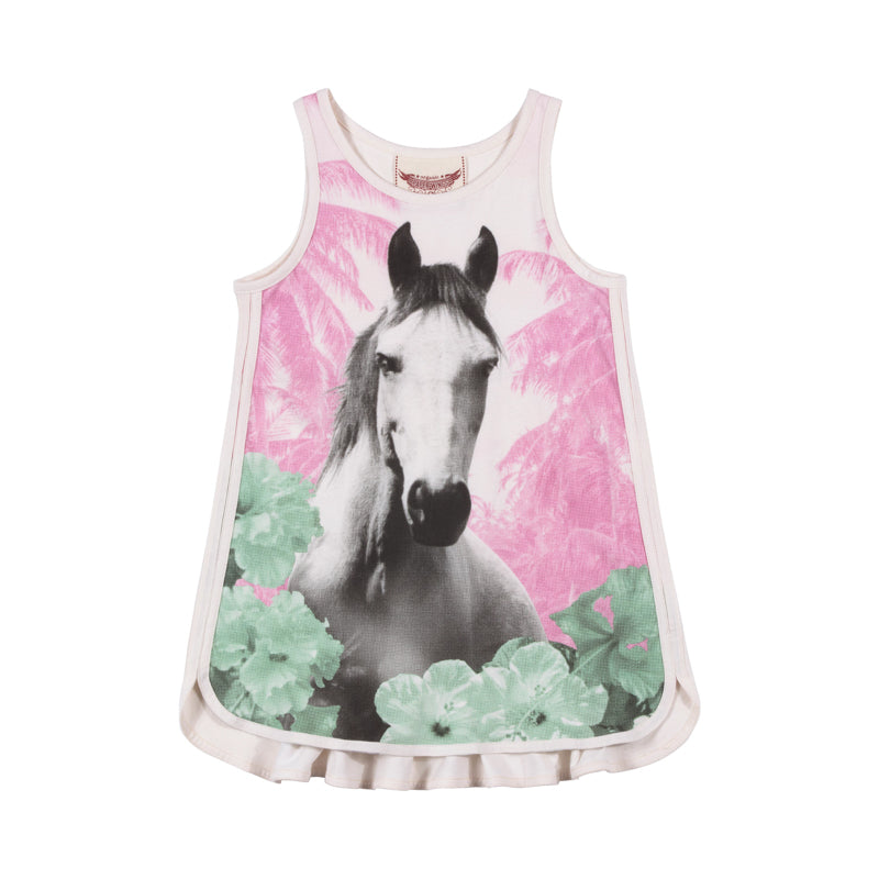Paper Wings - Singlet Dress with Binding - Jungle Horse