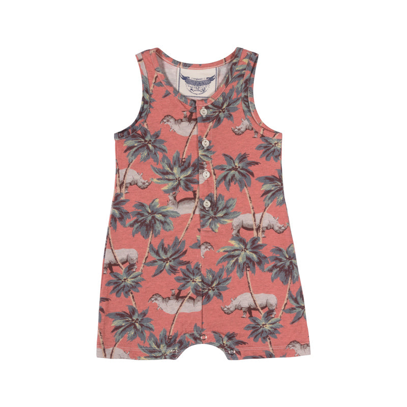 Little Wings by Paper Wings - Singlet Romper - Red Jungle Rhino