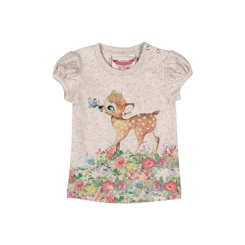 Little Wings by Paper Wings - Puff Sleeve Tee - Butterfly Deer