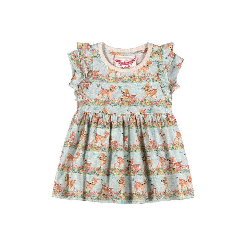 Little Wings by Paper Wings - T-shirt Dress with Frills - Butterfly Deer Stripe