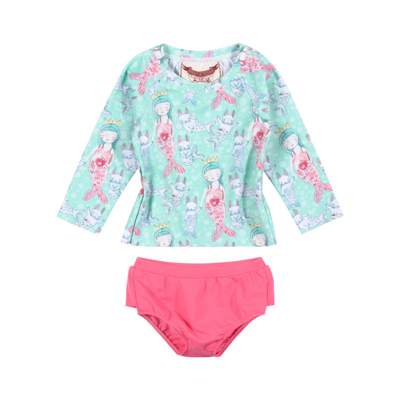 Little Wings by Paper Wings - Raglan Rashie Set - Little Mermaid
