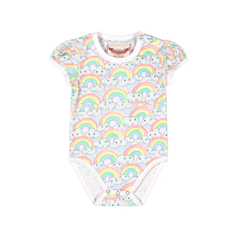 Little Wings by Paper Wings - Puffed Sleeve Onesie - Rainbow Love