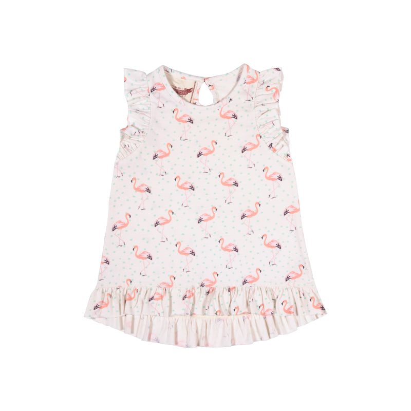 Little Wings by Paper Wings - Frilled Tank Dress - Flamingos