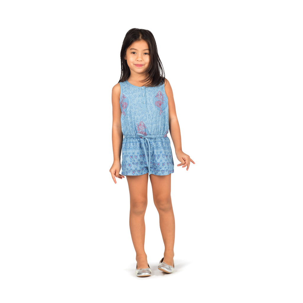 Paper Wings - Chambray Romper - Festival Pink