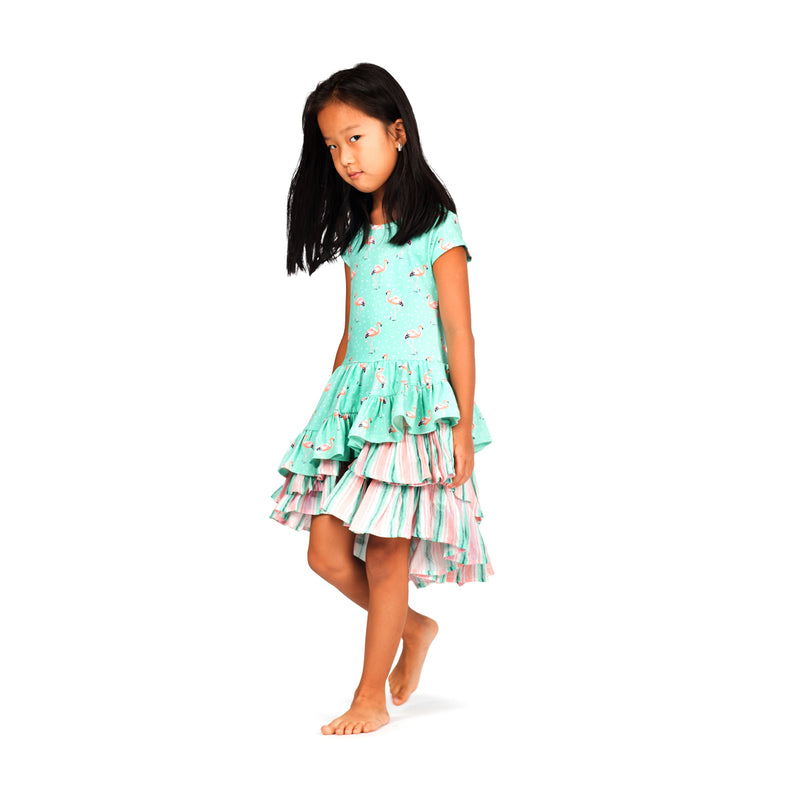 Paper Wings - Back Laced Dress - Flamingo Spot