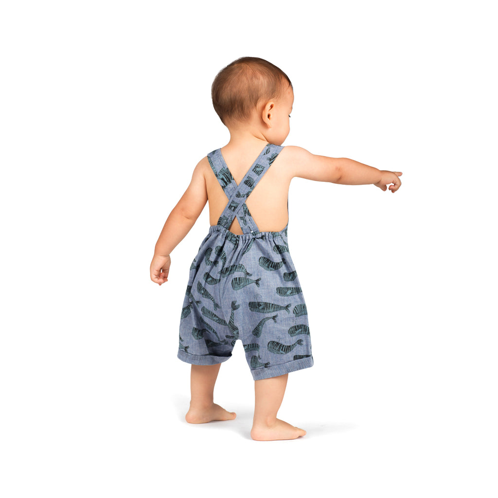 Little Wings by Paper Wings - Bloomer Overalls - Camo Whale
