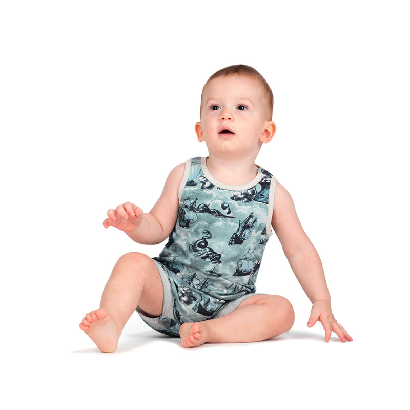 Little Wings by Paper Wings - Tank Romper - Sailing High
