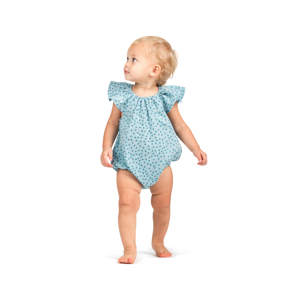 Little Wings by Paper Wings - Frilled Shoulder Onesie - Texta Spot Flowers