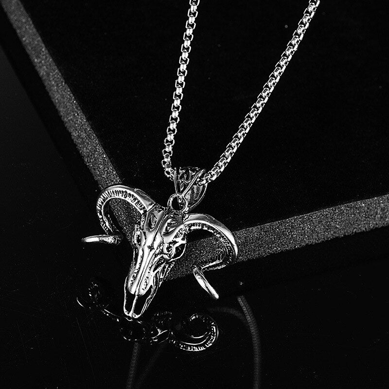 Long Chain Bull Skull Pendant Necklace - The Discount Studio