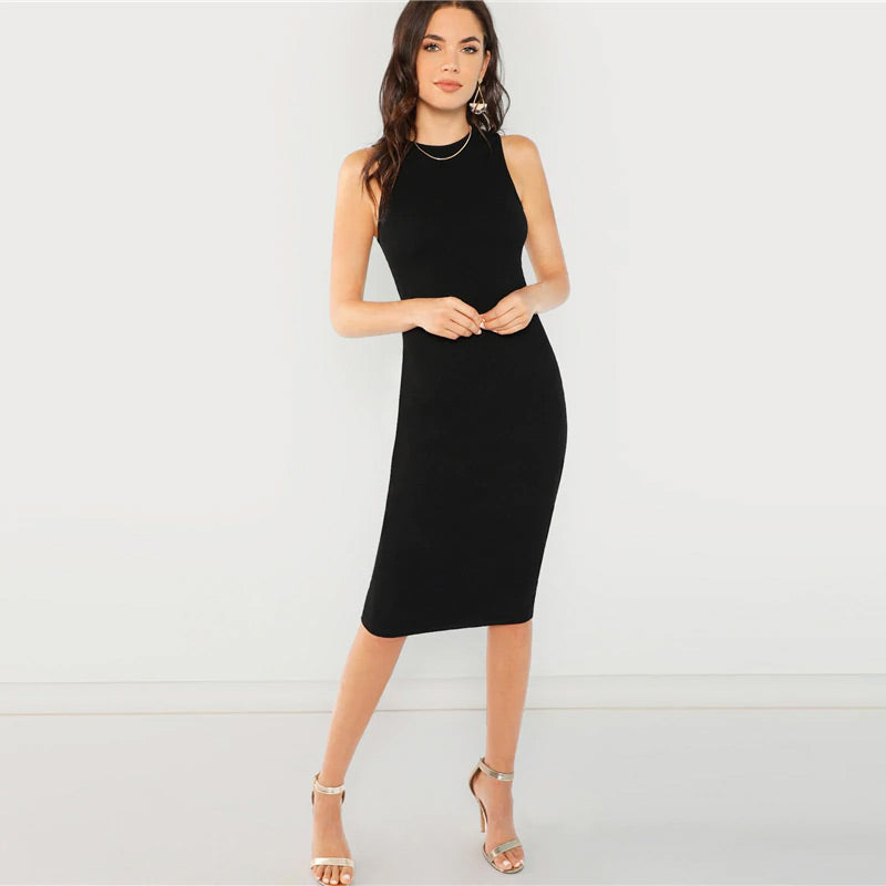 Black Solid Pencil Dress