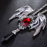 Red Crystal Gothic Pendant Necklace - The Discount Studio