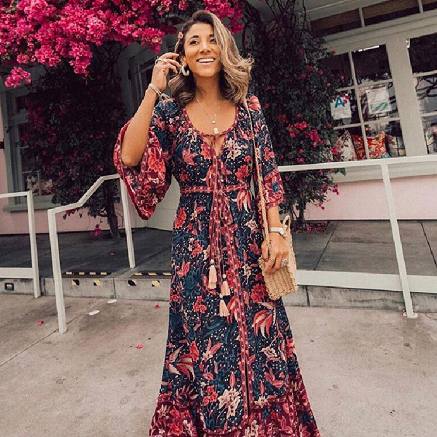 Floral Print Maxi Dress - The Discount Studio