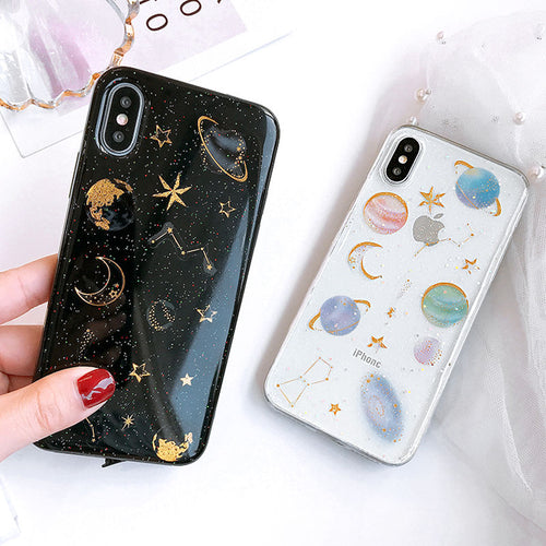 Space and Planets Glitter Gel iPhone Case - The Discount Studio