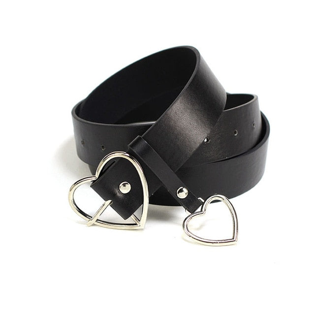 Metal Heart Buckle Leather Belt - The Discount Studio
