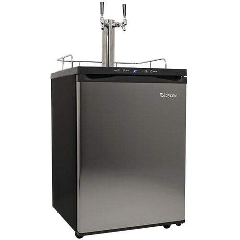 EdgeStar Full Size Dual Tap Kegerator with Digital Display - Black and Stainless Steel