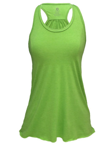 Flowy Burnout or Triblend Racerback Tank (XS, Green)