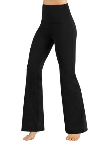ODODOS Power Flex High Waist Boot-Cut Yoga Pants Tummy Control Workout Non See-Through Bootleg Yoga Pants,Black,X-Large