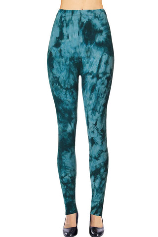 VIV Collection Plus Size Printed Tie-Dye Leggings (Dusky Souls)