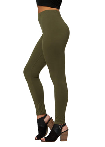 Ultra Soft High Waisted Leggings in 30 Colors - Regular and Plus Size for Women - Full Length - Olive - Plus Size (12-24)