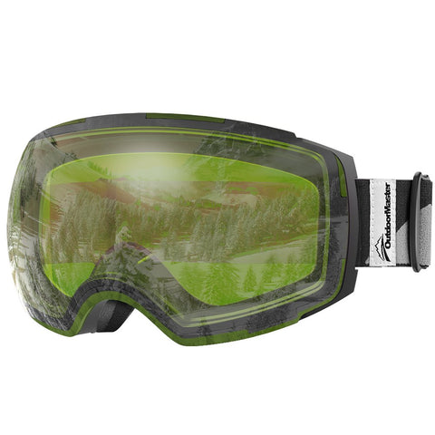 OutdoorMaster Ski Goggles PRO - Frameless, Interchangeable Lens 100% UV400 Protection Snow Goggles for Men & Women ( Black Frame VLT 80% Green Lens and Free Protective Case )
