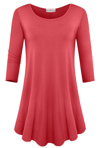 JollieLovin Womens 3/4 Sleeve Loose Fit Swing Tunic Tops Basic T Shirt (Watermelon Red, L)