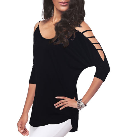 Women's Casual Loose Hollowed Out Shoulder Three Quarter Sleeve Shirts,Black,XL