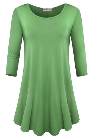 JollieLovin Womens 3/4 Sleeve Loose Fit Swing Tunic Tops Basic T Shirt (Spring Green, 2X)