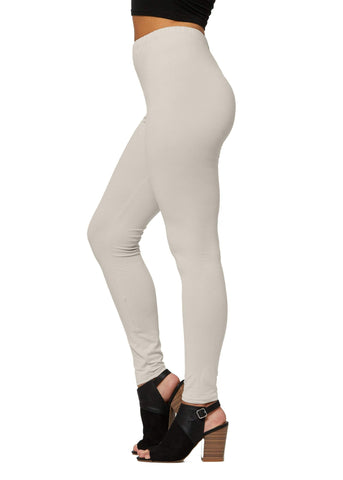 Ultra Soft High Waisted Leggings in 30 Colors - Regular and Plus Size for Women - Full Length - Stone - Plus Size (12-24)