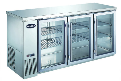"SABA 72"" Stainless Steel Back Bar Cooler, Three Glass Doors"