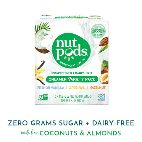 nutpods Variety 3 pack, Original, French Vanilla and Hazelnut Unsweetened Dairy-Free Liquid Coffee Creamer Made From Almonds and Coconuts