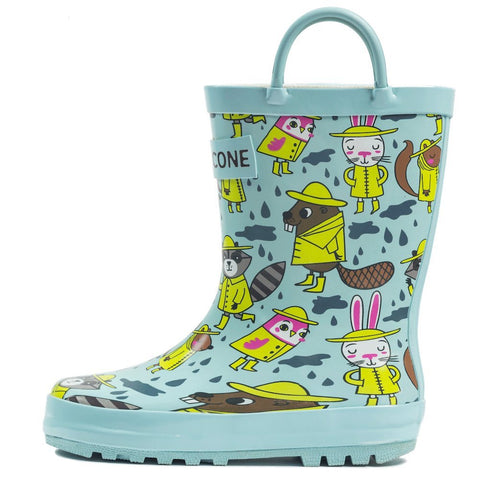 LONECONE Rain Boots with Easy-On Handles in Fun Patterns for Toddlers and Kids, Rainy Raccoons, 4 Toddler