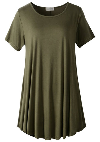 LARACE Women Short Sleeves Flare Tunic Tops for Leggings Flowy Shirt (M, Army Green)