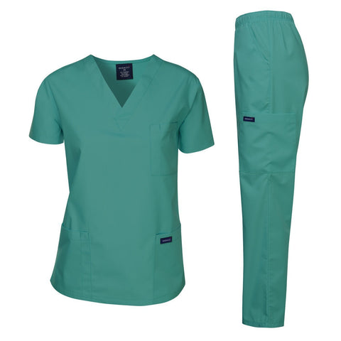 Dagacci Medical Uniform Women's Medical Scrub Set Top and Pant, Teal Green, S