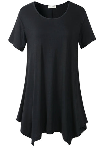 LARACE Womens Swing Tunic Tops Loose Fit Comfy Flattering T Shirt (XL, Black)