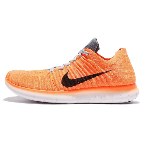 Nike Women's Free Running Motion Flyknit Shoes, Laser Orange/Gamma Blue/Cool Grey/Black - 7.5 B(M) US