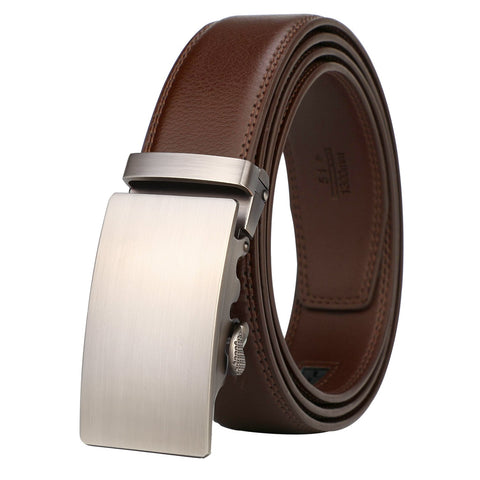 Lavemi Men's Real Leather Ratchet Dress Belt with Automatic Buckle,Elegant Gift Box(25-0711 Brown leather)