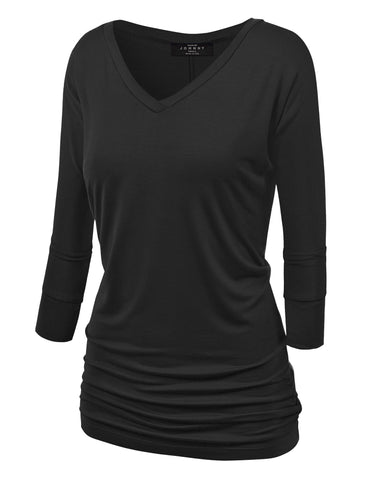 Made By Johnny WT1036 Womens V Neck 3/4 Sleeve Dolman Top with Side Shirring S Black